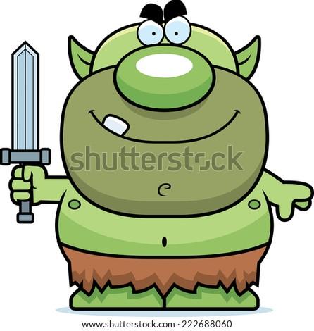 A cartoon illustration of a goblin with a sword. - stock vector
