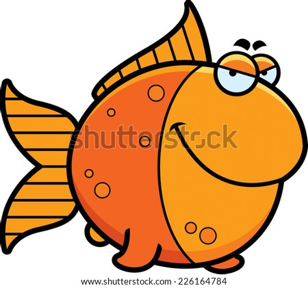 A cartoon illustration of a goldfish with a sly expression. - stock vector