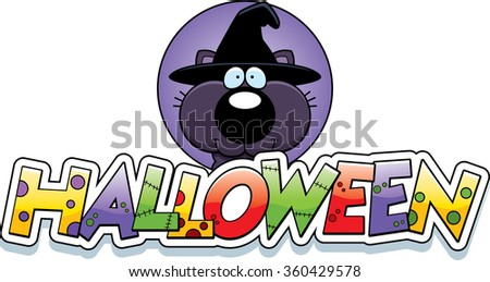 A cartoon illustration of a Halloween graphic with a witch cat.