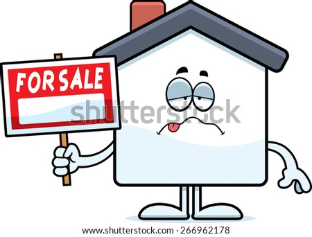 A cartoon illustration of a home for sale looking sick. - stock vector