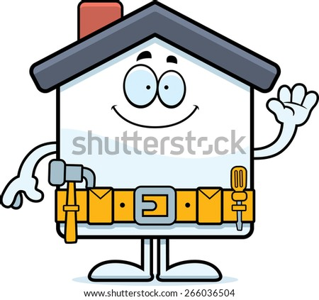 A cartoon illustration of a home improvement house waving. - stock vector