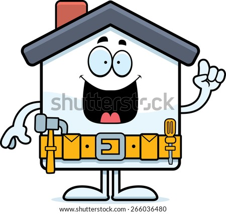 A cartoon illustration of a home improvement house with an idea. - stock vector