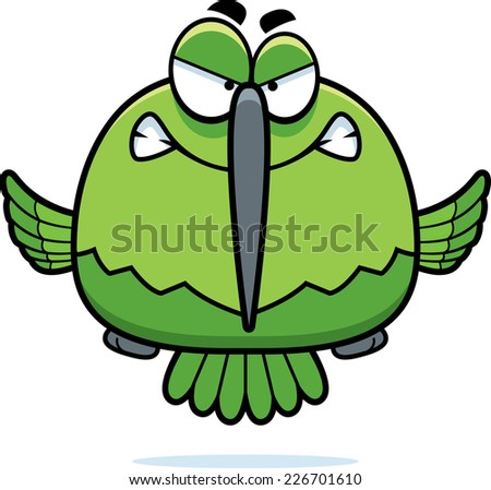 A cartoon illustration of a hummingbird looking angry. - stock vector