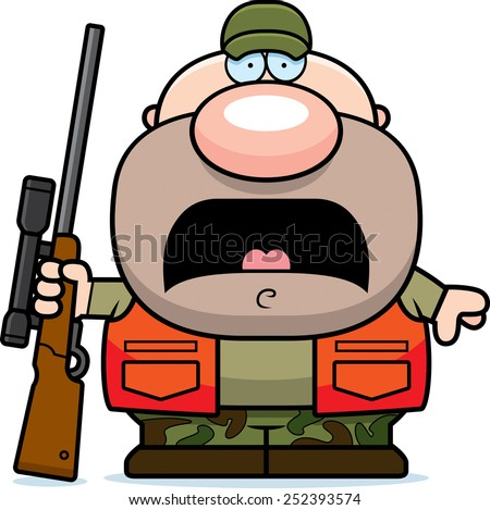 A cartoon illustration of a hunter looking scared. - stock vector