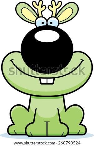 A cartoon illustration of a jackalope smiling. - stock vector