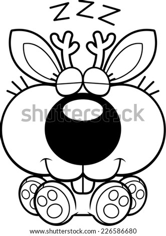 A cartoon illustration of a jackalope taking a nap. - stock vector