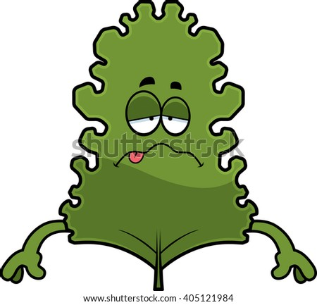 A cartoon illustration of a kale leaf looking sick. - stock vector