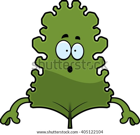 A cartoon illustration of a kale leaf looking surprised. - stock vector