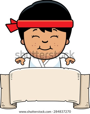 A cartoon illustration of a karate kid with a banner sign. - stock vector
