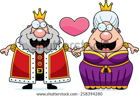A cartoon illustration of a king and queen holding hands and in love. - stock vector