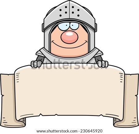 A cartoon illustration of a knight with a banner. - stock vector