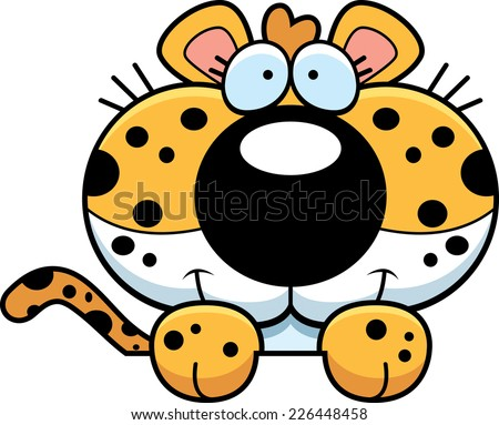 A cartoon illustration of a leopard cub peeking over an object. - stock vector