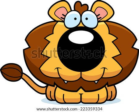 A cartoon illustration of a lion cub with a happy expression.