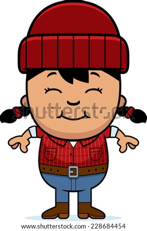 A cartoon illustration of a little lumberjack smiling.