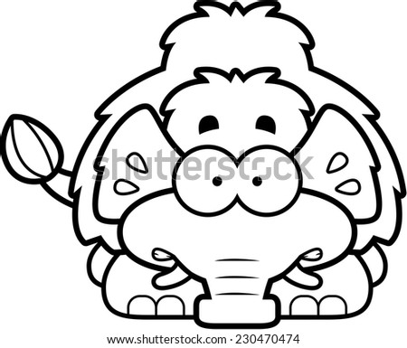 A cartoon illustration of a little mammoth looking nervous. - stock vector