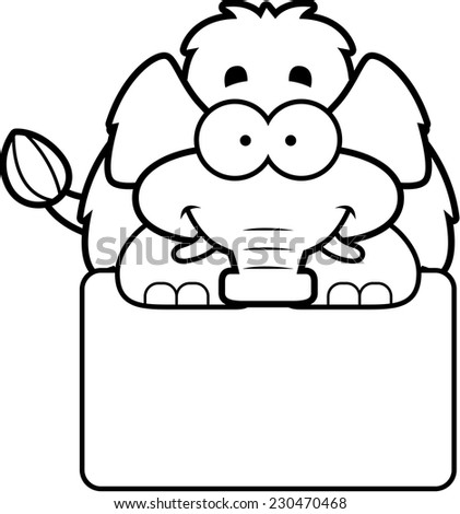A cartoon illustration of a little mammoth with a white sign. - stock vector