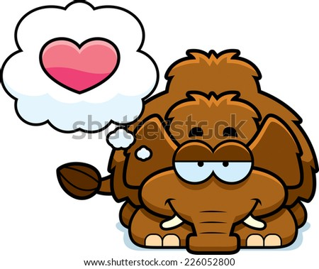 A cartoon illustration of a little mammoth with an in love expression. - stock vector