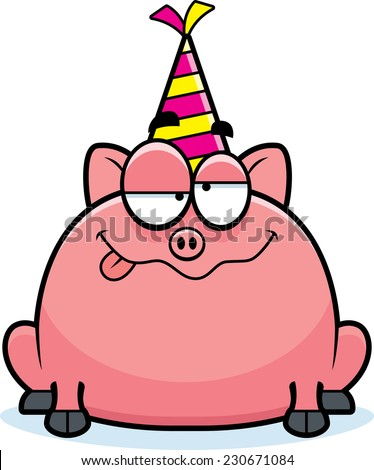 A cartoon illustration of a little pig with a party hat looking drunk. - stock vector