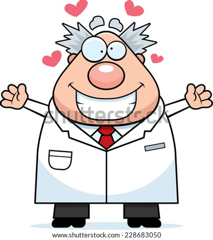 A cartoon illustration of a mad scientist ready to give a hug. - stock vector