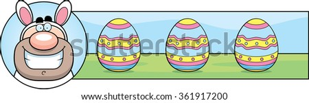 A cartoon illustration of a man dressed as the Easter Bunny in an Easter themed graphic. - stock vector