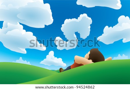 A cartoon illustration of a man lying on his back on a green grassy hillside looking up at some fluffy white clouds. One of the clouds is shaped distinctly like a dollar sign. CMYK vector image.