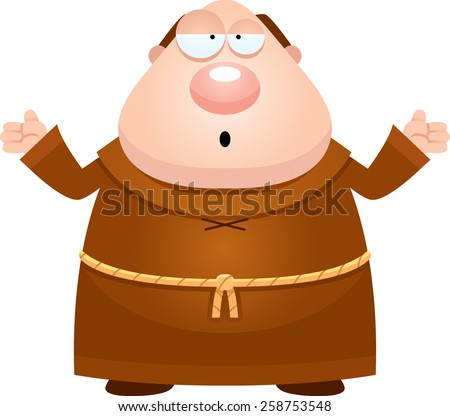 A cartoon illustration of a monk looking confused. - stock vector