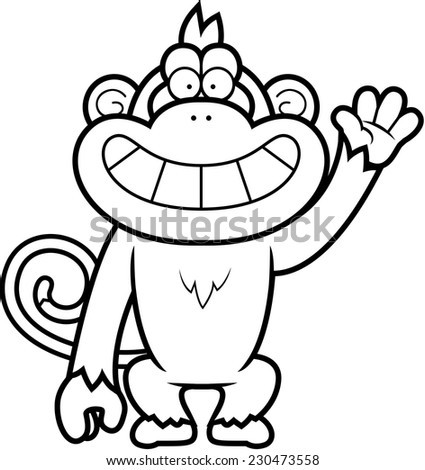 A cartoon illustration of a monkey waving.