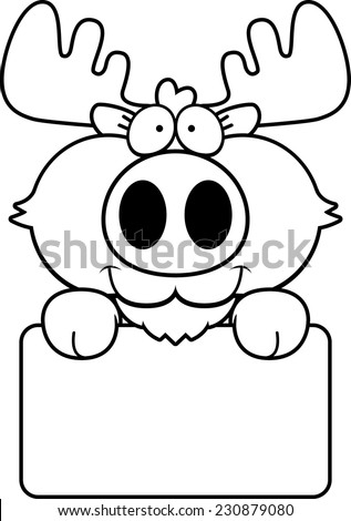 A cartoon illustration of a moose with a white sign. - stock vector