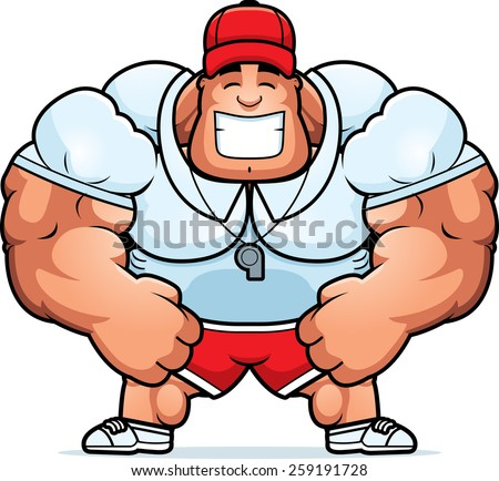A cartoon illustration of a muscular coach smiling. - stock vector