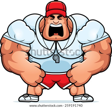 A cartoon illustration of a muscular coach yelling. - stock vector