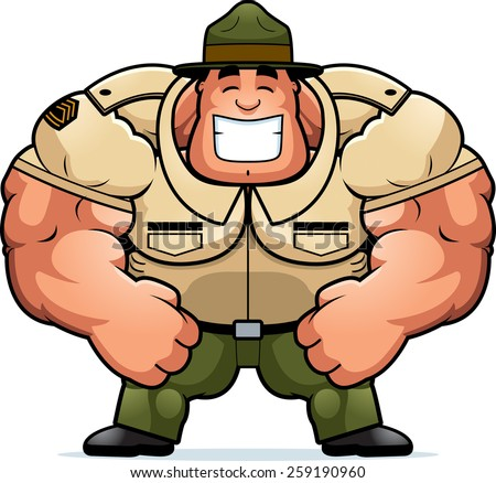 A cartoon illustration of a muscular drill sergeant smiling.