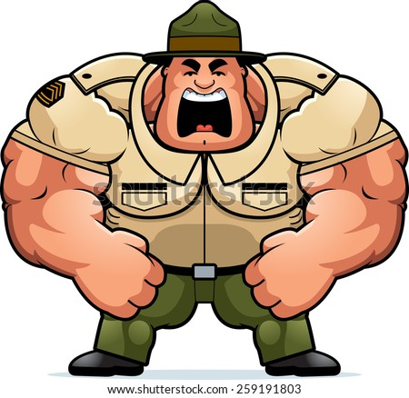 A cartoon illustration of a muscular drill sergeant yelling.