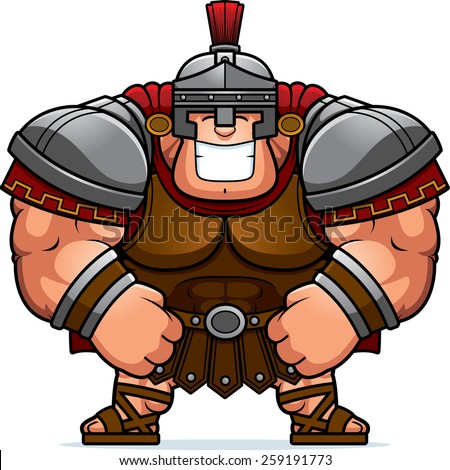 A cartoon illustration of a muscular Roman Centurion in armor smiling.