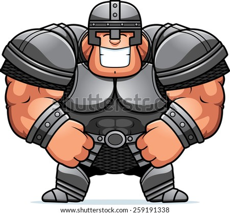 A cartoon illustration of a muscular warrior in armor smiling.