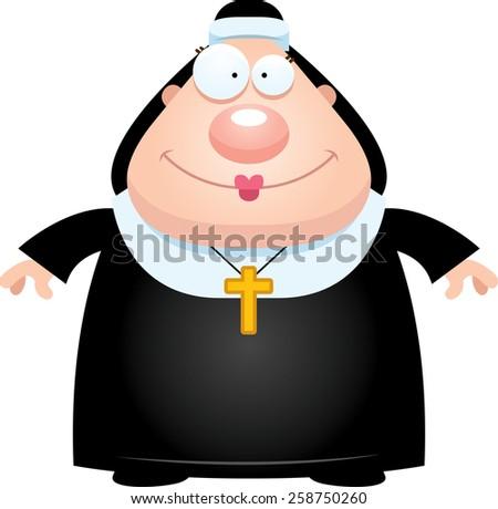 A cartoon illustration of a nun looking happy. - stock vector