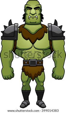 A cartoon illustration of a orc man standing.