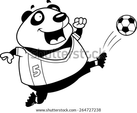 A cartoon illustration of a panda kicking a soccer ball. - stock vector