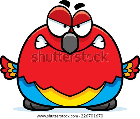 A cartoon illustration of a parrot looking angry. - stock vector