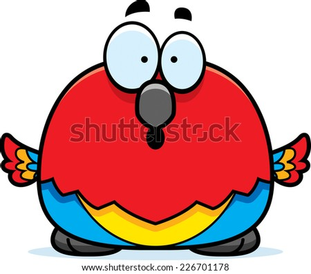 A cartoon illustration of a parrot looking surprised. - stock vector
