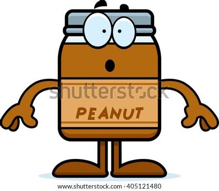 A cartoon illustration of a peanut butter jar looking surprised. - stock vector