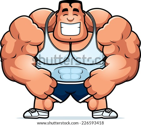 A cartoon illustration of a personal trainer flexing. - stock vector