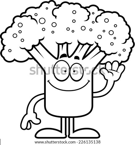A cartoon illustration of a piece of broccoli waving.