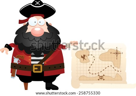 A cartoon illustration of a pirate with a treasure map. - stock vector