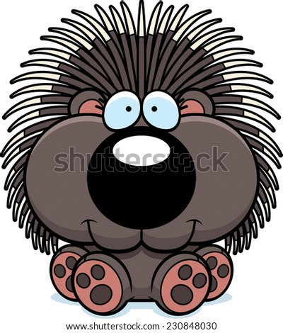 A cartoon illustration of a porcupine sitting and smiling. - stock vector