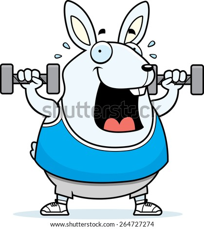 A cartoon illustration of a rabbit lifting dumbbell weights. - stock vector