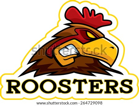 A cartoon illustration of a rooster mascot head. - stock vector