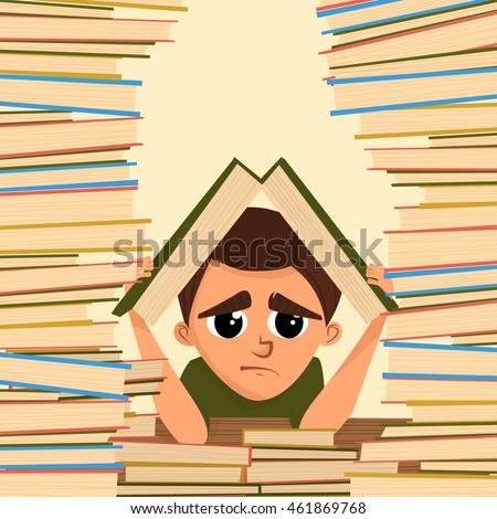 A cartoon illustration of a school student in the library. Vector illustration