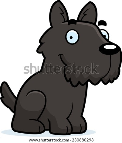A cartoon illustration of a Scottie sitting.