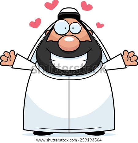 A cartoon illustration of a sheikh ready to give a hug. - stock vector