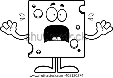 A cartoon illustration of a slice of Swiss cheese looking scared. - stock vector